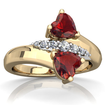Garnet Heart to Heart Bypass Ring in 14K Yellow Gold by