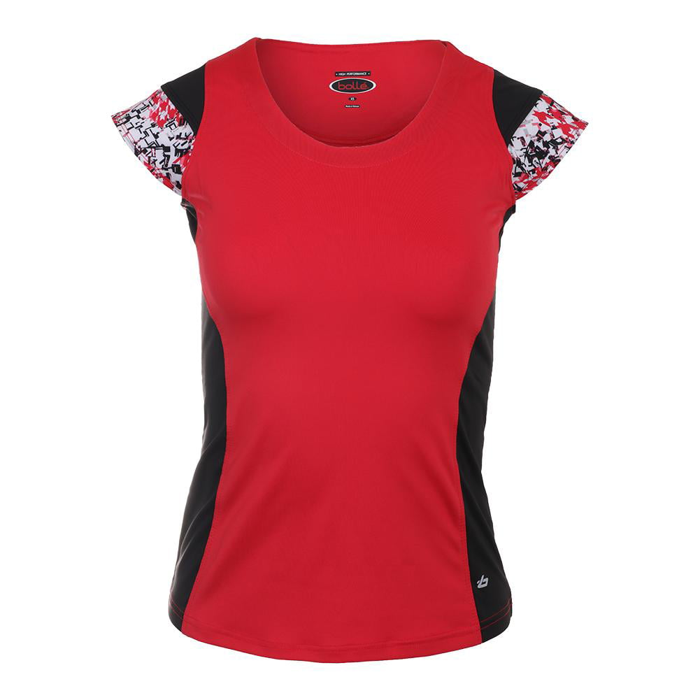 boll/é Women/'s Checkmate Cap Sleeve Tennis Top Red Large