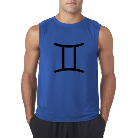 Trendy USA 950 - Men's Sleeveless Gemini Symbol Zodiac Sign The Twins Large Royal