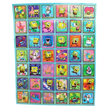 - Spongebob Squarepants Postage Stamp Design Sticker Collection (42 Stickers)