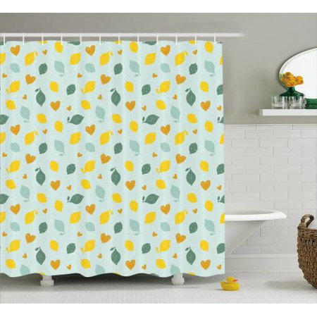 Lemons Shower Curtain Scribbled Figures Of Lemon And Heart On Sparse Polka Dotted Background