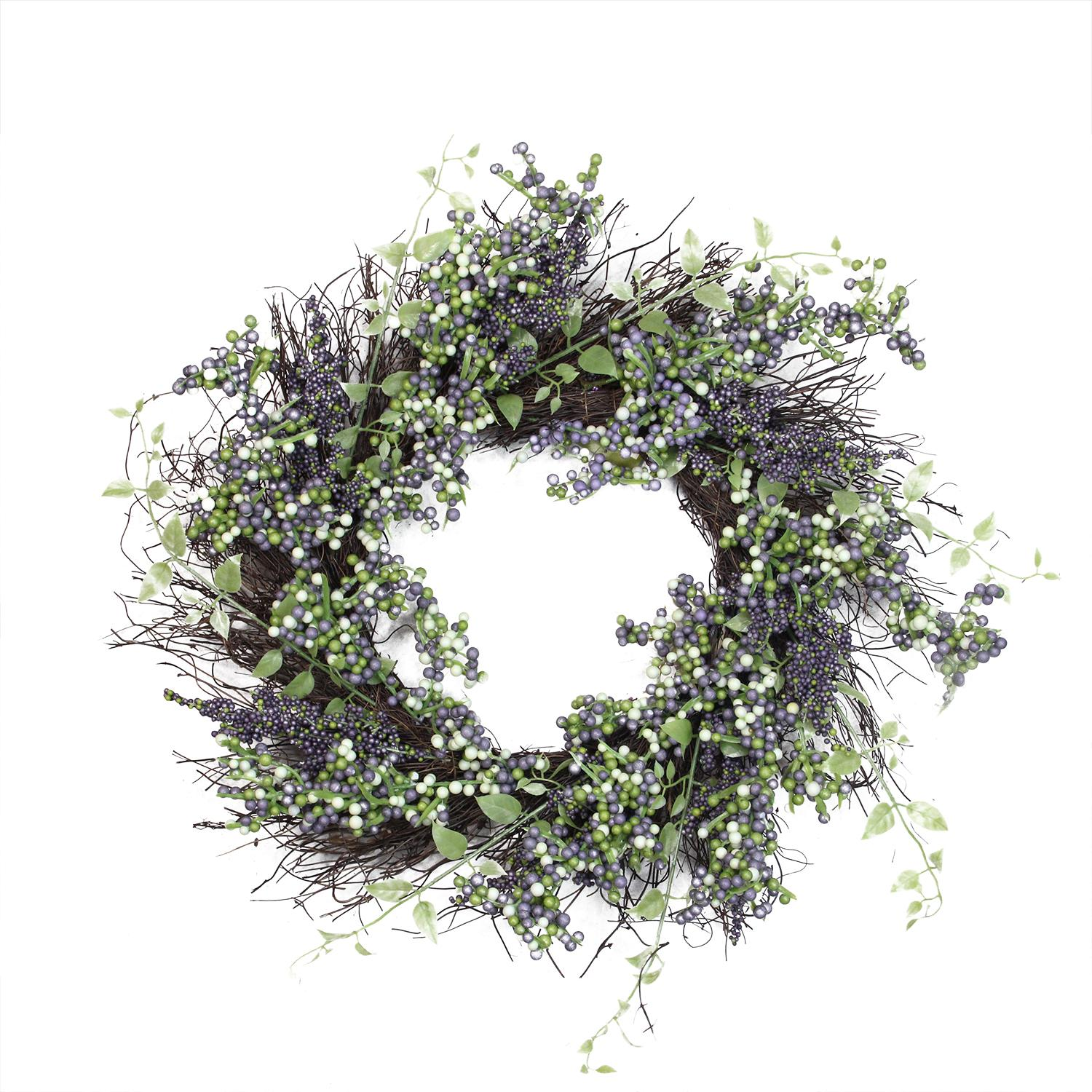 """22"""" Decorative Plum Purple and White Artificial Berry Wreath - image 2 of 2"""
