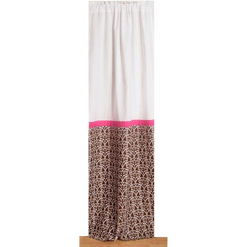 """Bacati Damask Curtain Panel 42""""x84"""" 100% Cotton percale fabrics, Pk/Chocolate"""
