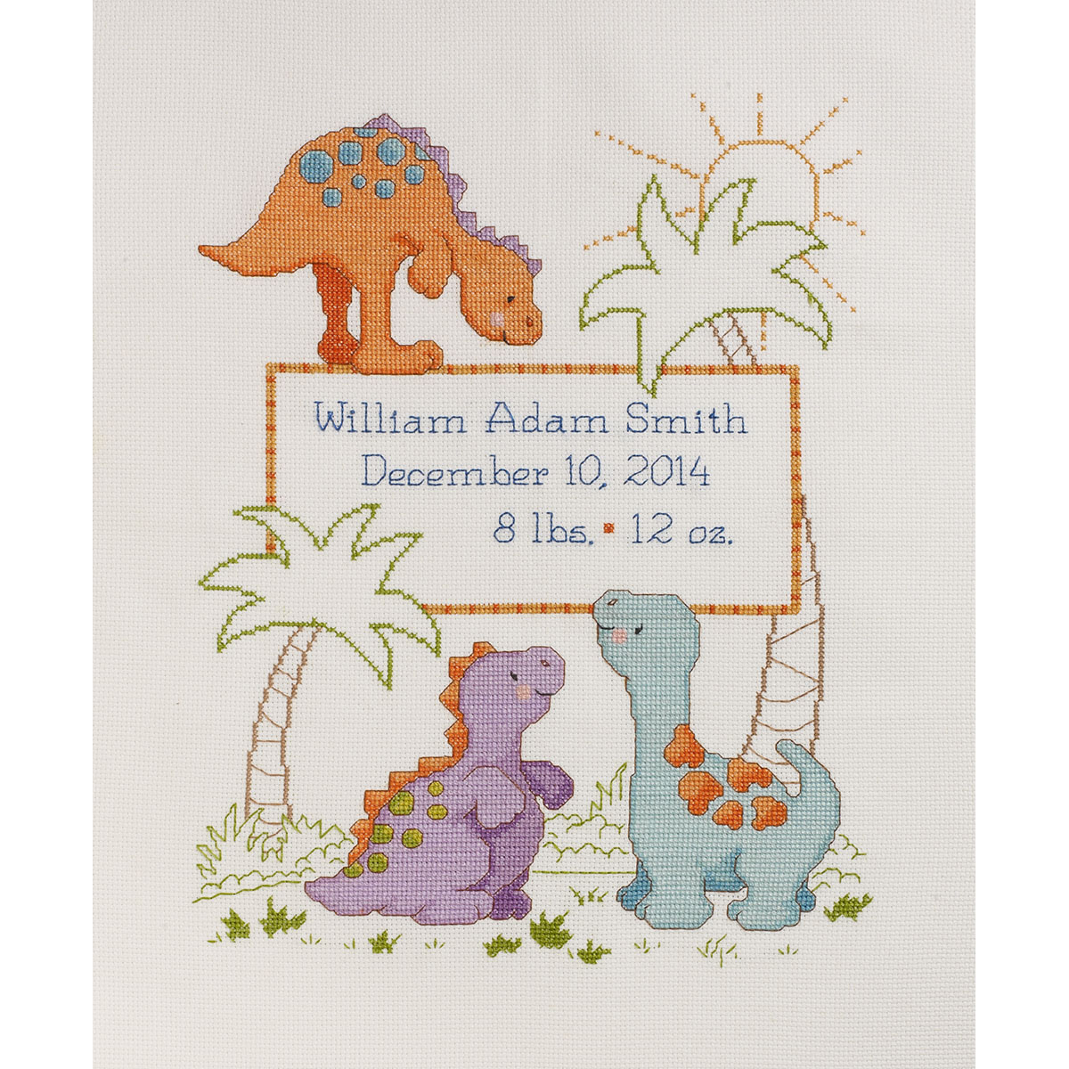 Cuteasaurus Birth Record Counted Cross Stitch Kit-10\