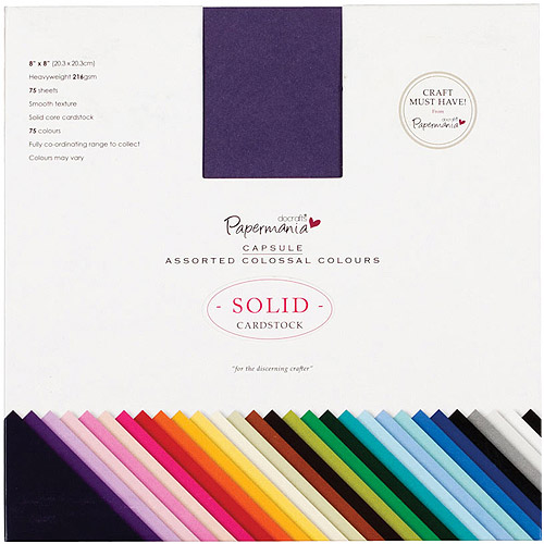 "Papermania Premium Smooth Solid Cardstock Pack, 8"" x 8"", 75pk, Colossal"