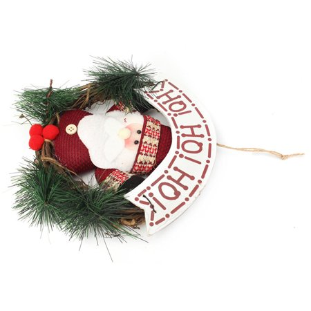 Christmas Santa Claus Elk Xmas Ornaments Rattan Hoop Wreath Garland Door Hanger Christmas Tree Decoration - image 5 of 5