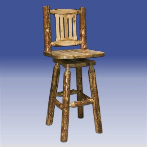 Montana Woodworks MWGCBSWSNR Glacier Country Barstool with Swivel Seat and Back