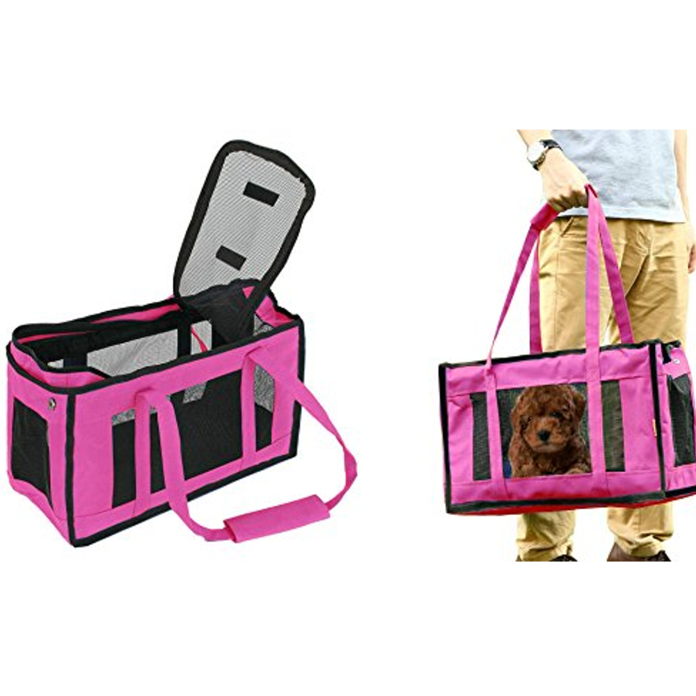New Comfortable Airline Approved Pet Carrier Travel Handbag Shoulder Bag- Pink