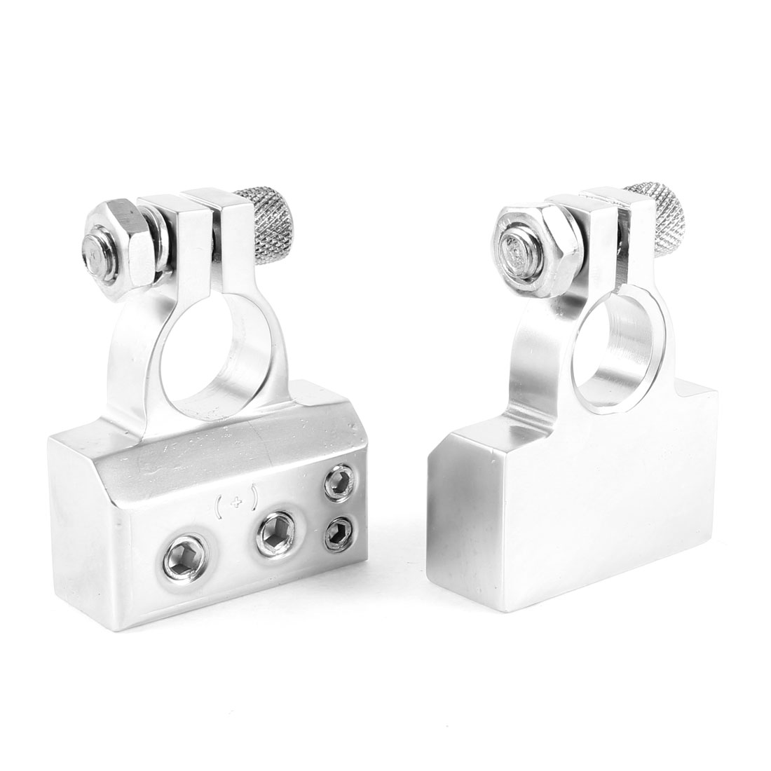 Unique Bargains 2 Pcs Car Chrome Pleated Metal Battery Connector Terminals Silver Tone