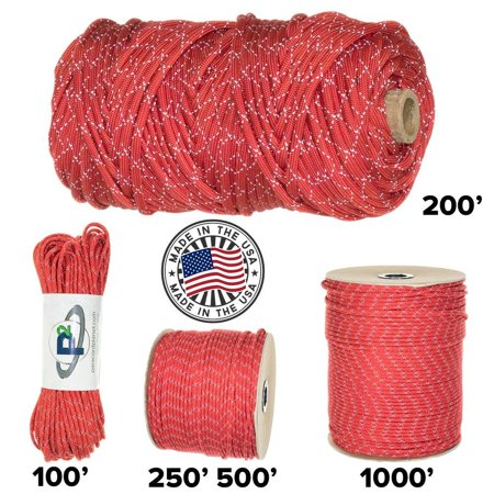Paracord Planet 700lb Criss Cross Double-Reflective Paracord - 2 Bright Retro-Reflective Tracers for the Best in High-Visibility Cord - 100% Nylon Cord is Made in the USA Reflective Red 250 Feet