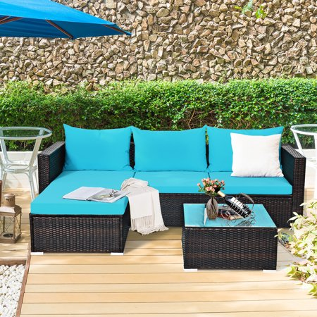 Gymax 5PCS Cushioned Rattan Patio Conversation Set w/ Coffee Table Ottoman - image 4 of 10