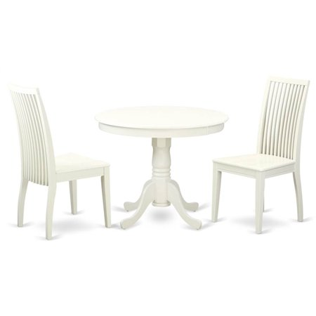 3 Pc Round Dining Table Set In Linen White