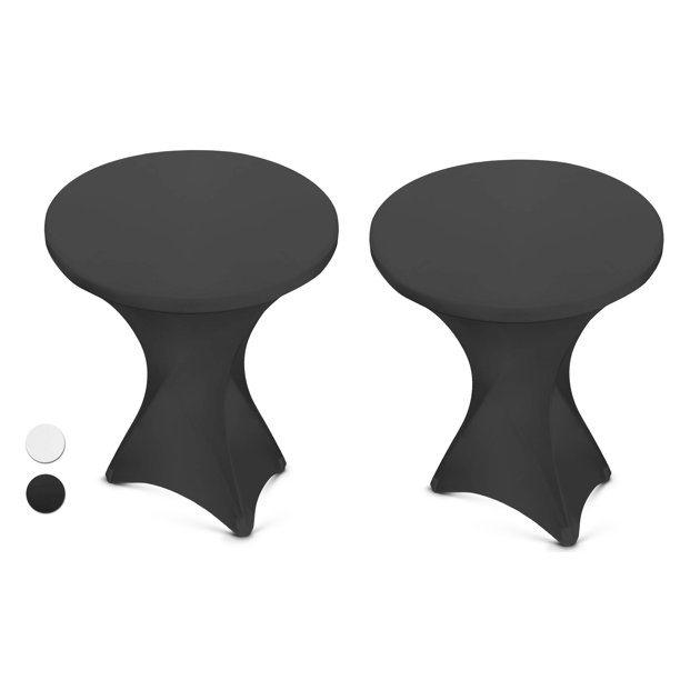 Black Spandex Cocktail Table Cover - Fitted High Top Round Table