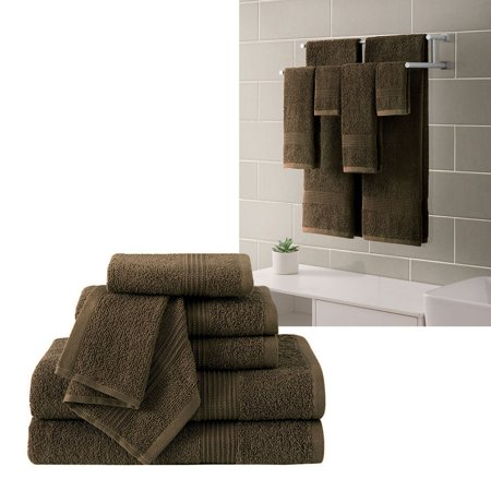 "Ribbed Luxury Bath Towel 6 Piece Set 100% Cotton, Mocha Brown (2 Bath Towels 54"" x 27"", 2 Hand Towels 28"" x 16"" and 2 Wash Cloths 13"" x 13"")"