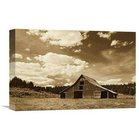Landscape Lighting Gallery (Global Gallery Old Red Barn in Pastoral Landscape Oregon - Sepia Wall Art )