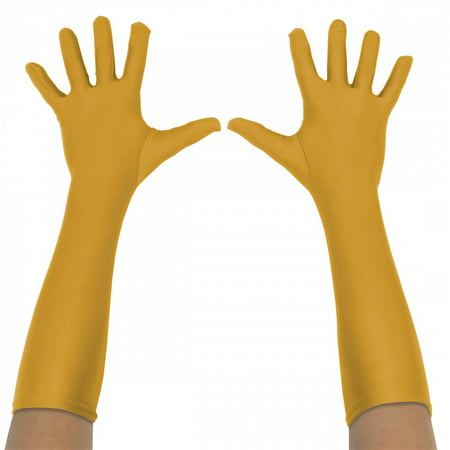 Superhero Gloves Adult Costume Accessory Gold Long - One (Women's Fbi Agent Costume)