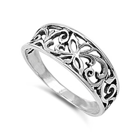 - Oxidized Butterfly Filigree Cutout Ring New .925 Sterling Silver Band Size 7