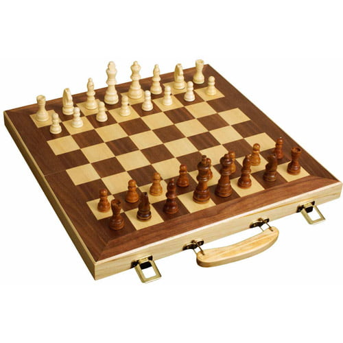 "Sterling Games 16"" Wooden Folding Chess Set by Sterling Games"