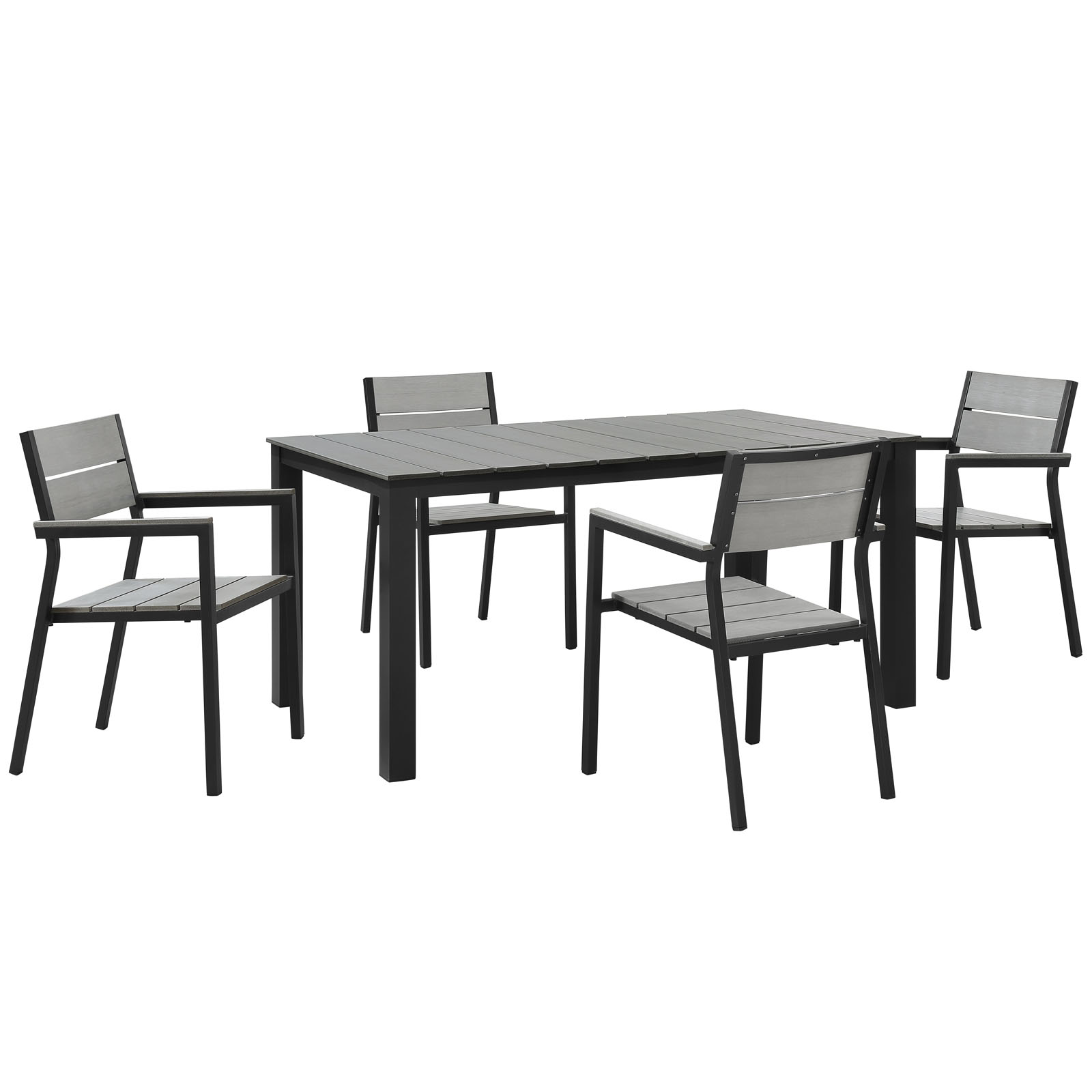 Modern Urban Contemporary 5 pcs Outdoor Patio Dining Room Set, Brown Grey Steel by America Luxury