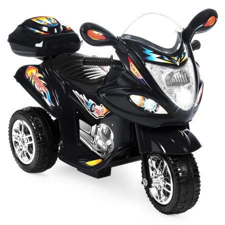 Best Choice Products Kids 6V Electric 3-Wheel Motorcycle Ride On, LED Lights/Sound, Storage, Black (Kids Ride On Power Toy)