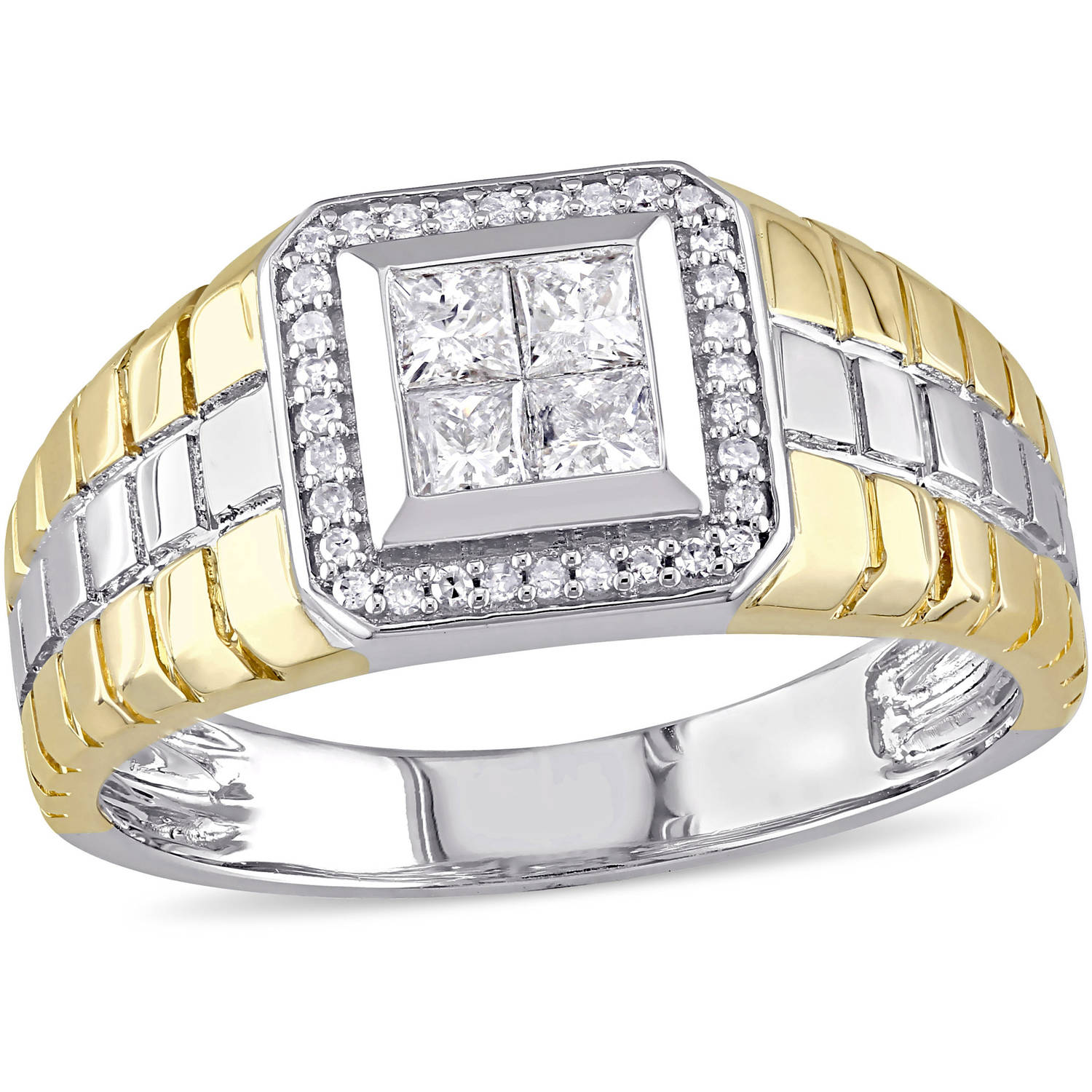 Miabella 1/2 Carat T.W. Princess and Round-Cut Diamond 10kt Two-Tone Gold Men's Ring