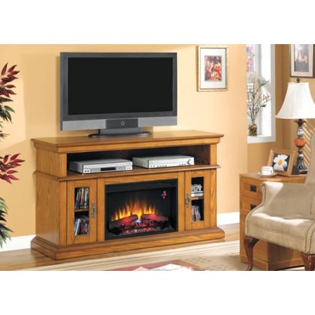 Brookfield TV Stand w/ 25″ Curved IR Quartz Fireplace, Premium Oak