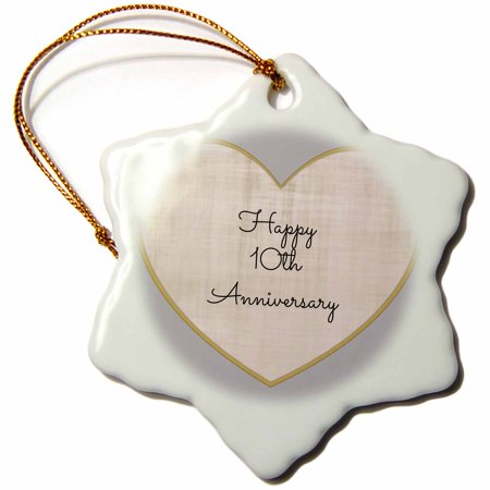 3dRose Happy 10th Anniversary with gold and silver colored heart background, Snowflake Ornament, Porcelain, 3-inch