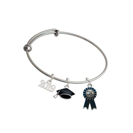Silvertone Best in Show Blue Ribbon - 2019 Graduation Charm Bangle (Best Shows Of 2019)
