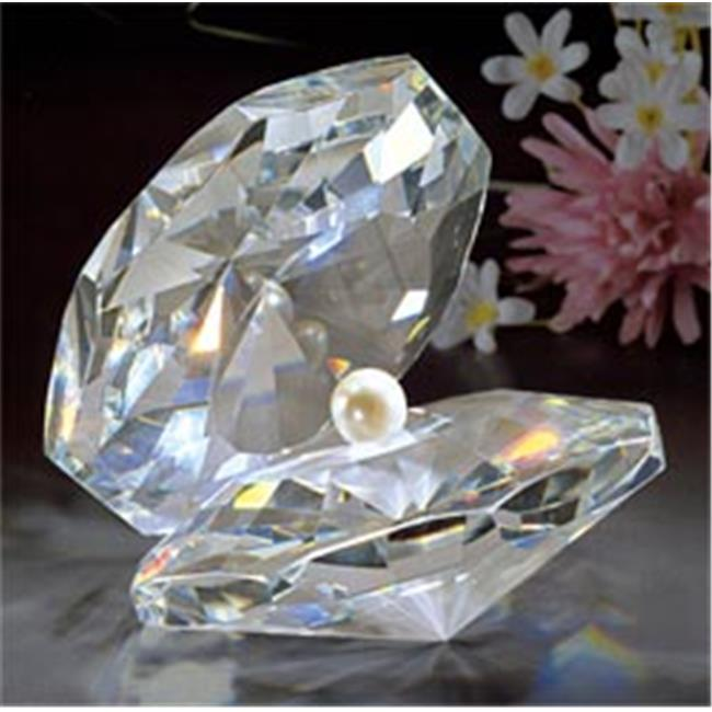 Asfour Crystal 301-1030-70 2.75 L x 2.87 H in. Crystal Pearly Shell Sea Figurines