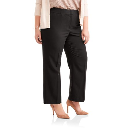 69ab7baf82aa2 Lifestyle Attitudes - Women s Plus Wide Leg Stretch Woven Career Pants -  Walmart.com