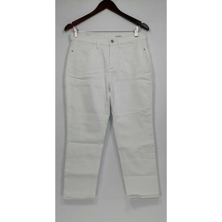 Denim & Co. Women's Petite Jeans 6P Studio Classic Denim White A304477 ()