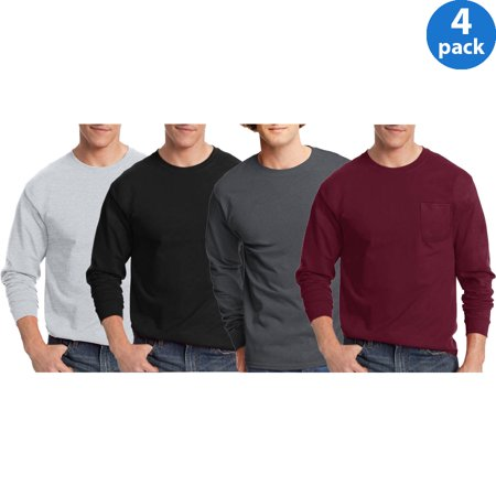 Hanes Mens tagless long-sleeve tshirt, 4 Pack Bundle For $23