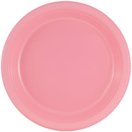 JAM Paper Bulk Round Plastic Party Plates, Small, 7, Baby Pink, 200 Plates/Box - Bulk Plates