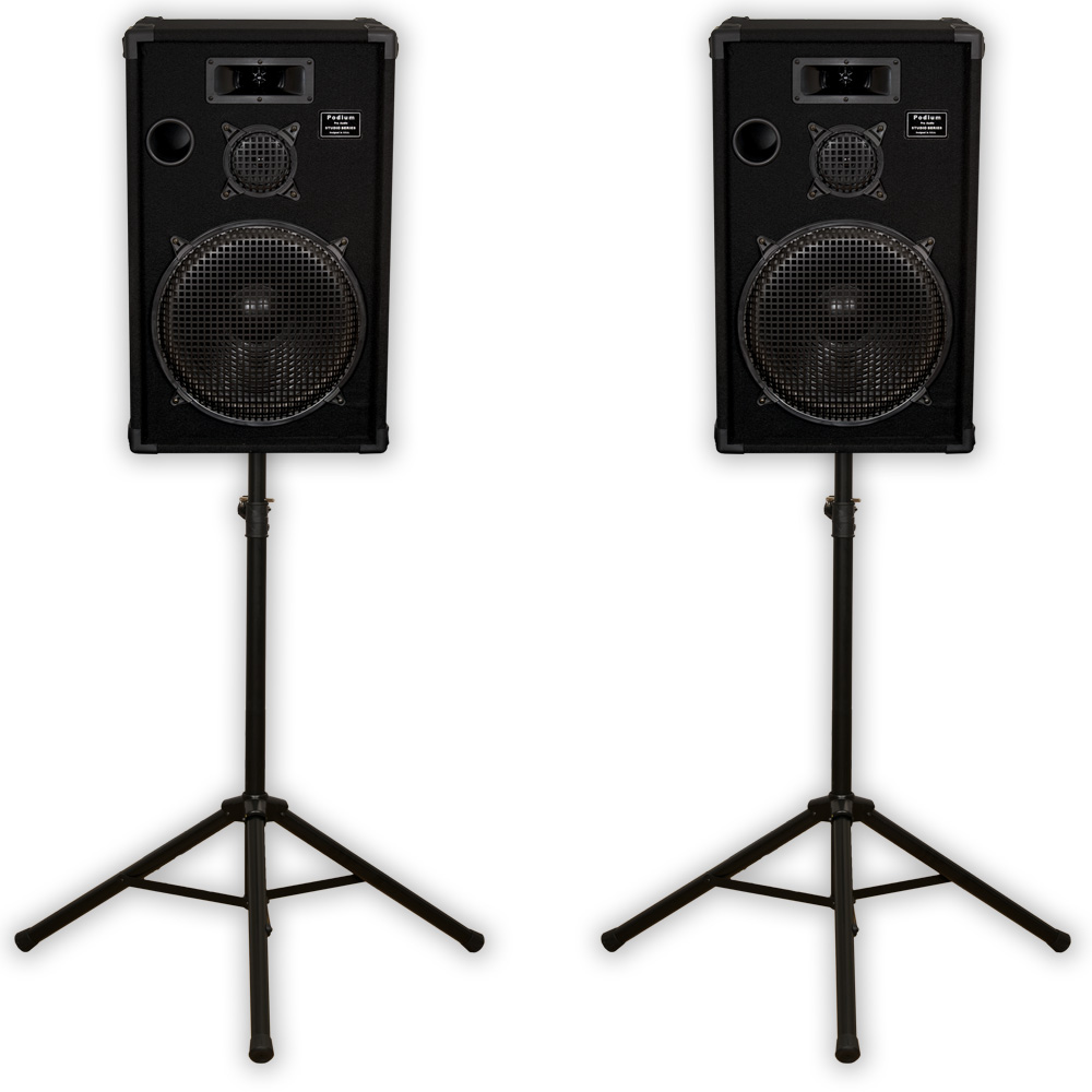 "Podium Pro E1500C Passive 15"" Speakers 1200W Pair and Stands PA DJ Home Karaoke 1500CSET1"