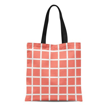 HATIART Canvas Tote Bag Garden Coral Grid Check Patio Pattern Modern White Squares Reusable Handbag Shoulder Grocery Shopping Bags - image 1 of 1