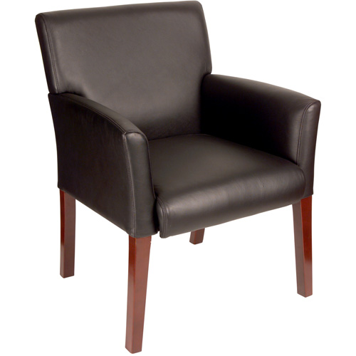 Mid-Back Guest Chair, Black and Mahogany