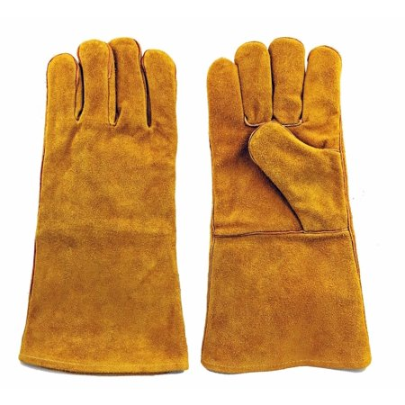 "Instapark® Welding Gloves Medium Large MIG/STICK TIG Compatible | Split Leather Fleece Lined, Brown 14"" One Size Fits"