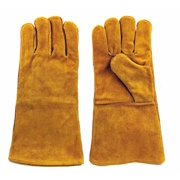 """Instapark® Welding Gloves Medium Large MIG/STICK TIG Compatible   Split Leather Fleece Lined, Brown 14"""" One Size Fits All"""