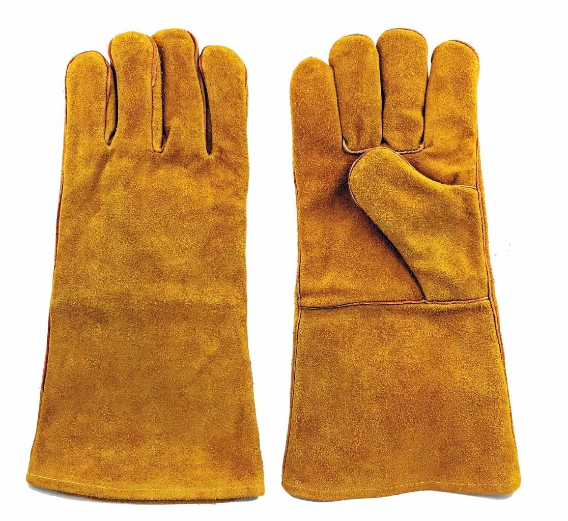 "Instapark® Welding Gloves Medium Large MIG/STICK TIG Compatible | Split Leather Fleece Lined, Brown 14"" One Size Fits All"