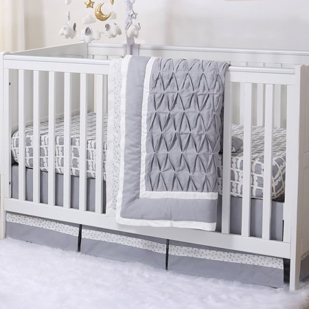 Grey Owl And Silver Dot Pleated 3 Piece Crib Bedding Set