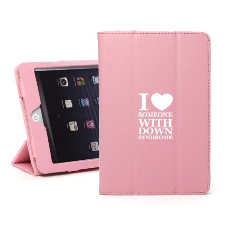 For Apple iPad Mini 4 Light Pink Leather Magnetic Smart Case Cover Stand I Love Heart Someone with Down Syndrome ()