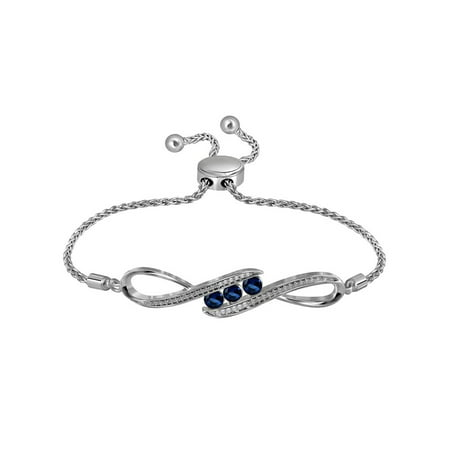 Lab Created Blue Sapphire 1/2 Carat (ctw) Bolo Bracelet in Sterling Silver with Diamonds 1/20 Carat (ctw)