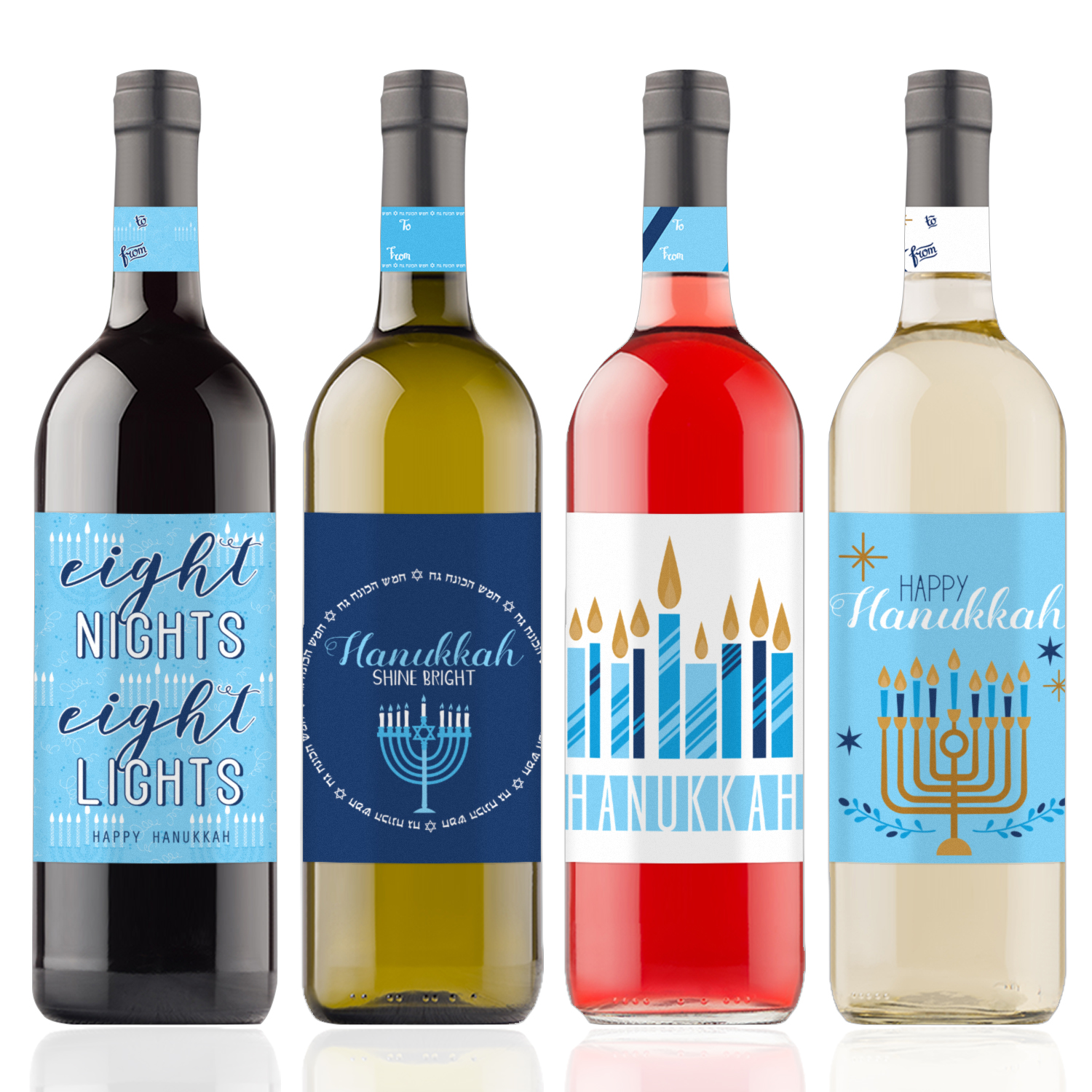 Hanukkah Wine Bottle Stickers, 4 count - Blue Hanukkah Decorations - Chanukah - 4 Wine Labels with Gift Tags