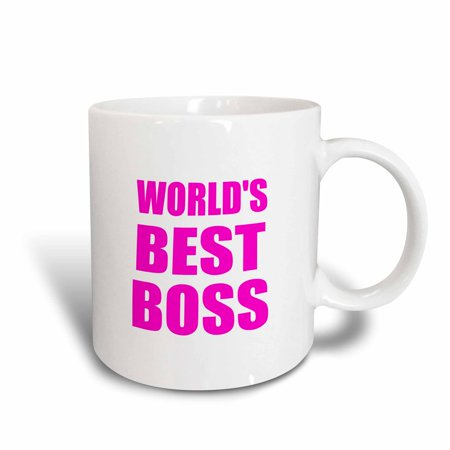 3dRose Worlds Best Boss - hot pink text - great design for the greatest boss, Ceramic Mug,