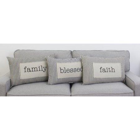 Pleasant Gracie Oaks Millar Blessed Ticking Stripe Cotton Lumbar Pillow Dailytribune Chair Design For Home Dailytribuneorg