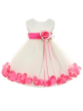 cc43cd7bdd3 Product Image Kids Dream Baby Girls Ivory Fuchsia Satin Petal Floating  Flower Girl Dress 6M
