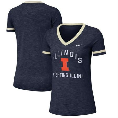 Illini Fan - Illinois Fighting Illini Nike Women's Performance Cotton Slub Retro Fan V-Neck T-Shirt - Heathered Navy