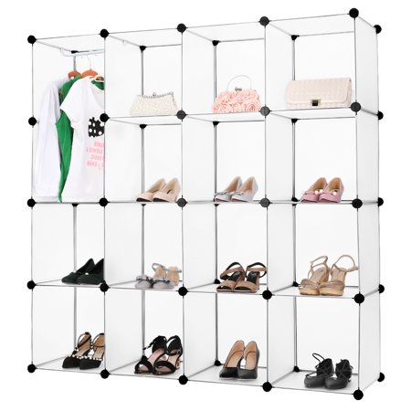 Langria 16 Cube Interlocking Modular Open Storage Organizer Shelving System Closet Wardrobe Rack