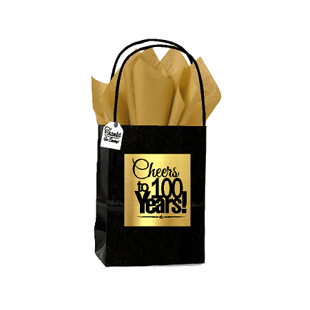 Black & Gold 100th Birthday / Anniversary Cheers Themed Small Party Favor Gift Bags with Tags -12pack](Decade Theme)