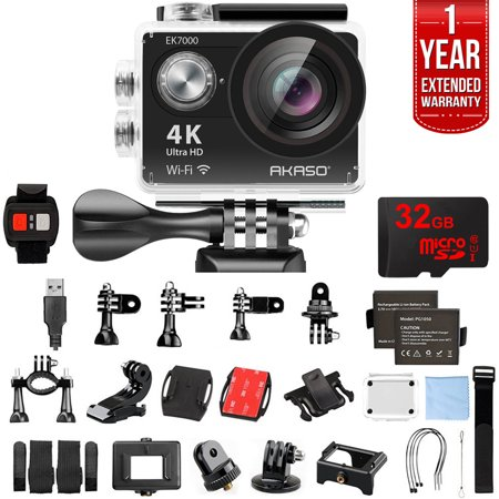 Akaso EK7000 Ultra HD 4k WIFI 170 Degree Wide Waterproof Sports Action Camera Black (EK7000) with 32GB MicroSD High-Speed Memory Card & 1 Year Extended